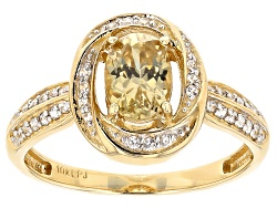 EHR011<br>1.00ct Oval Yellow Zircon And .19ctw Round White Zircon 10k Yellow Gold Ring