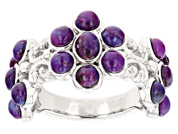 BCH547<br>Oval And Round Purple Turquoise Sterling Silver Ring