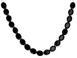 SMH283<br>43.95ctw Oval Black Spinel Sterling Silver Sliding Adjustable Necklace