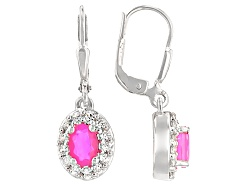 SMH401<br>.60ctw Oval Pink Ethiopian Opal With .44ctw Round White Zircon Sterling Silver Earrings