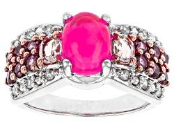 SMH404<br>.76ct Pink Ethiopian Opal, .30ctw Pink Morganite, .56ctw Rhodolite & .09ctw White Zircon S
