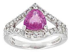 SMH445<br>1.41ct Trillion Pink Mahaleo(R) Sapphire With .49ctw Round White Zircon Sterling Silver Ri
