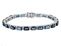 SMH456<br>22.53ctw Emerald Cut London Blue Topaz And .83ctw Round White Zircon Silver Bracelet