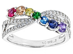 BJQ504<br>Bella Luce (R) 0.87ctw Multicolor Gem Simulants Rhodium Over Sterling Silver Ring