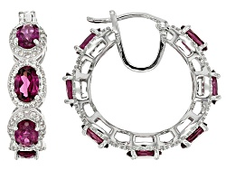 DOCX229<br>7.00ctw Oval Rhodolite With 2.30ctw Round White Zircon Sterling Silver Hoop Earrings