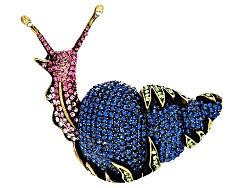 OPJ1192<br>Off Park (R) Collection Multicolor Crystal Antiqued Gold Tone Snail Brooch
