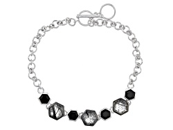 YAH151<br>3.20ctw Hexagonal Tourmalinated Quartz And 1.40ctw Hexagonal Black Onyx Sterling Silver Br