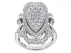 BJQ657<br>Bella Luce (R) 2.62ctw Diamond Simulant Round Rhodium Over Sterling Silver Ring (1.13ctw D