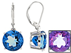 RNH598<br>15.40ctw Round Color Change Blue Fluorite Solitaire Sterling Silver Dangle Earrings