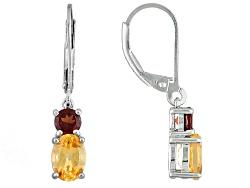 JJH267<br>1.53ctw Oval Imperial Hessonite(Tm) With .69ctw  Vermelho Garnet(Tm) Silver Dangle Earring
