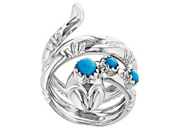 PSH107<br>6x4mm Pear Shape And 3mm Round Sleeping Beauty Turquoise Sterling Silver Snake Ring