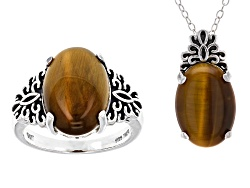Jewelry buy quality jewelry online jtv 14x10mm oval cabochon tigers eye solitaire sterling silver pendant with chain and ring jewelry set mozeypictures Images