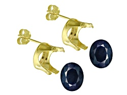 JMK048<br>Blue Sapphire 4.00ctw Minimum 9x7mm Oval Faceted Set Of 2; 14kt Yellow Gold Earring Castin