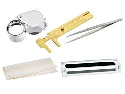 GCK037<br>Gemstone Collector's Tool Kit: Loupe, Tweezers, Gauge, Cloth, Display