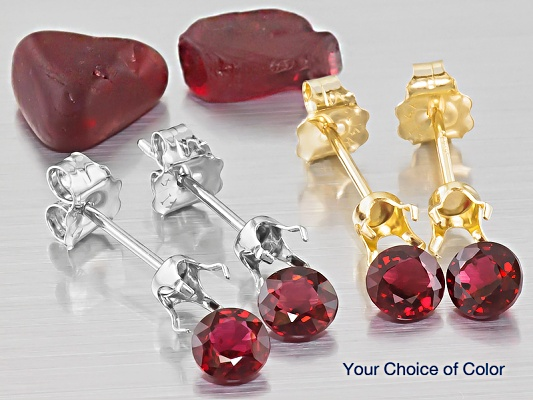 Pair Of 4mm Round Red Spinel With 14k Gold Geme Stud Earring Castings And A Piece Rough For 69 99 Available In Your Choice Yellow